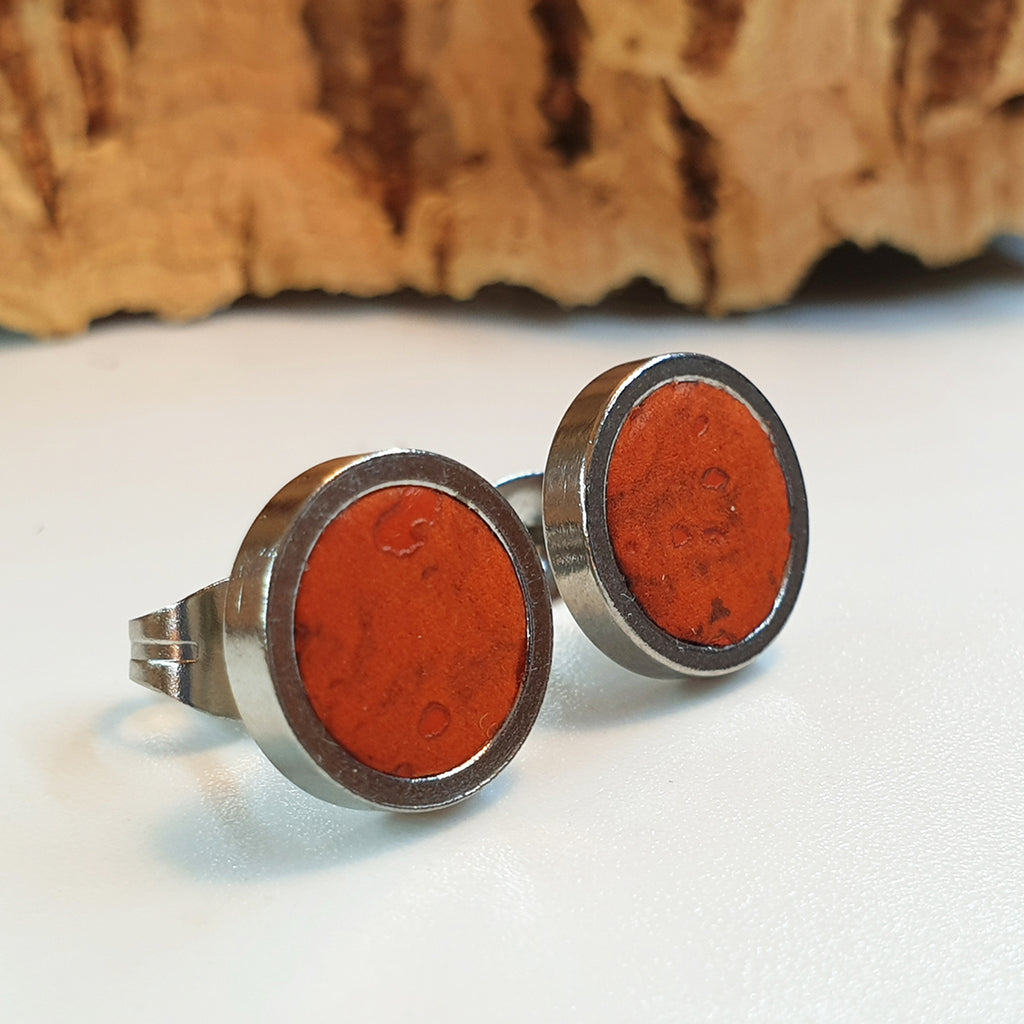 Fabrikk Cork Stud Earrings | Medium | Orange | Vegan Leather