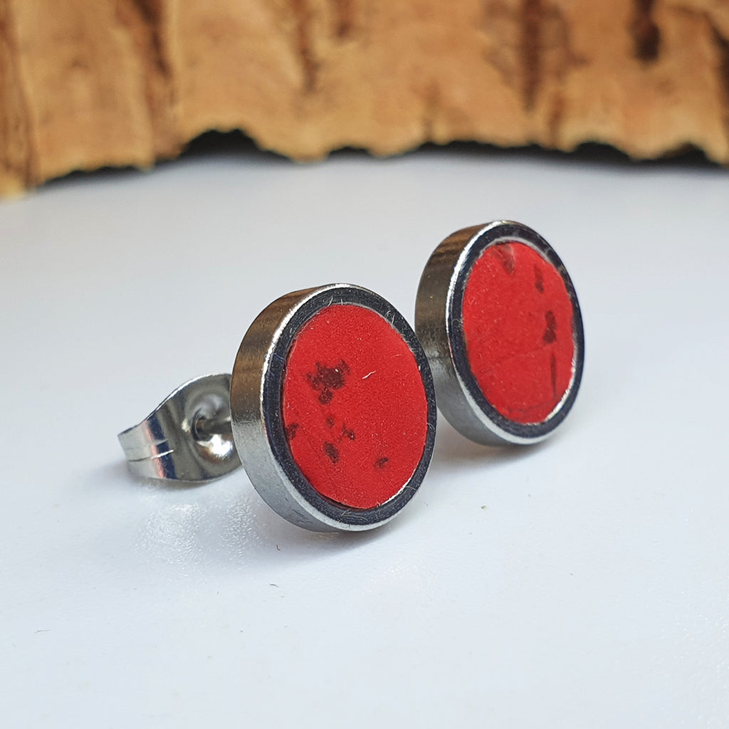 Fabrikk Cork Stud Earrings | Medium | Red | Vegan Leather