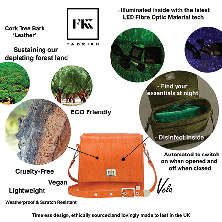 Fabrikk VELA Cork LED Handbag | Coal Black | Vegan Leather