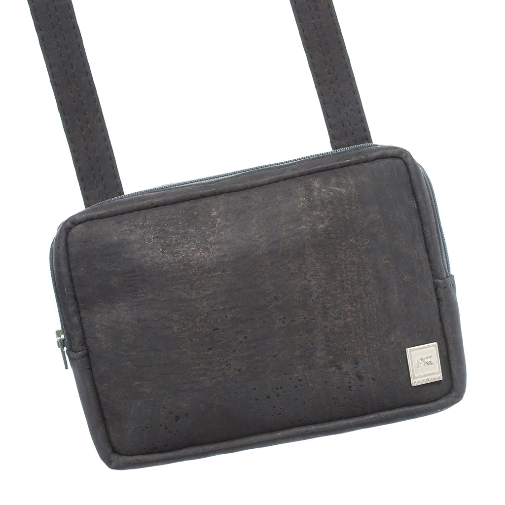 Theta | Black Vegan Leather 'Cork' 3 Way Cross Body Mini Bag