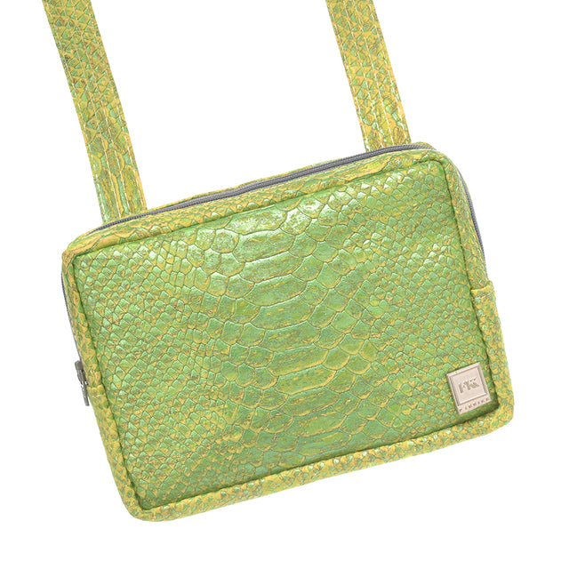 Theta | Green Snakeskin Vegan Leather 'Cork' Cross Body Mini Bag - Fabrikk