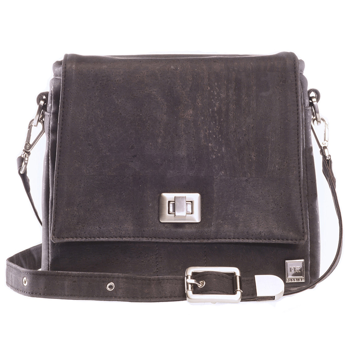 Vela | Coal Black Vegan Leather 'Cork' LED Handbag