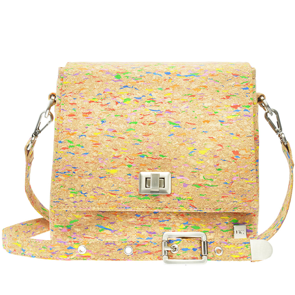 Vela | Multicoloured Fleck Vegan Leather Cork LED Handbag