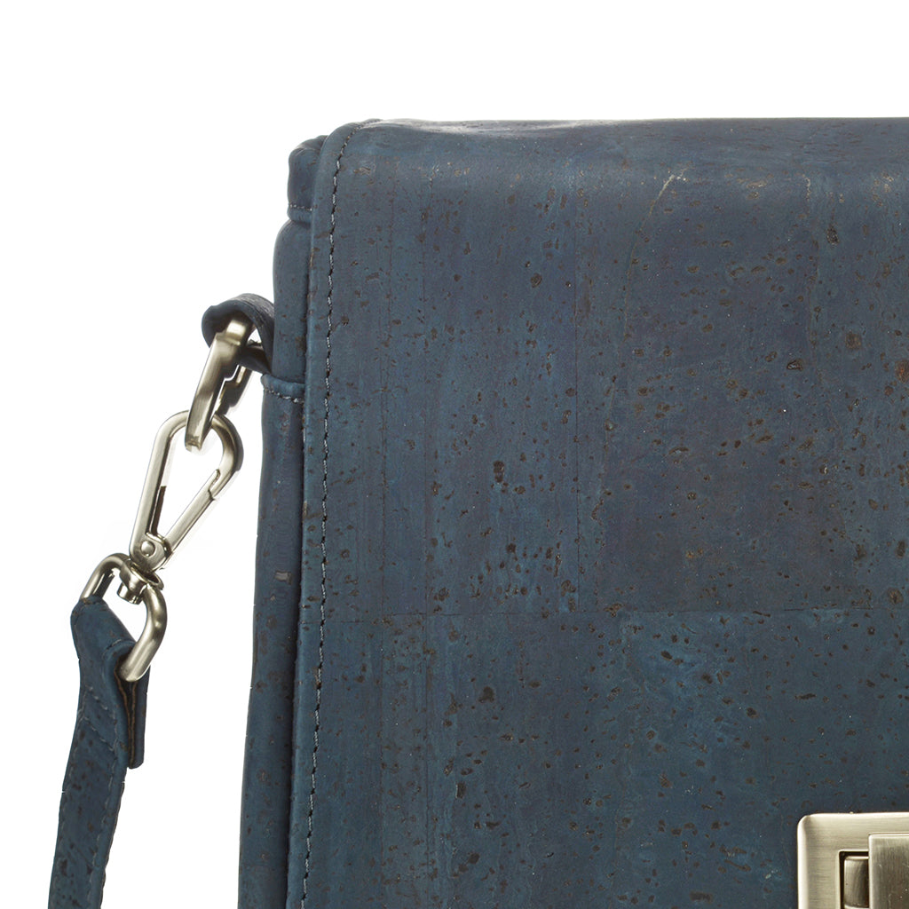 Vela | Navy Blue Vegan Leather 'Cork' LED Handbag