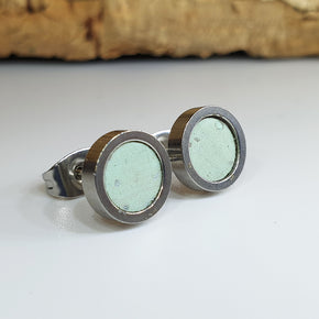 Fabrikk Cork Stud Earrings | Dwarf Size | Mint Green | Vegan Leather