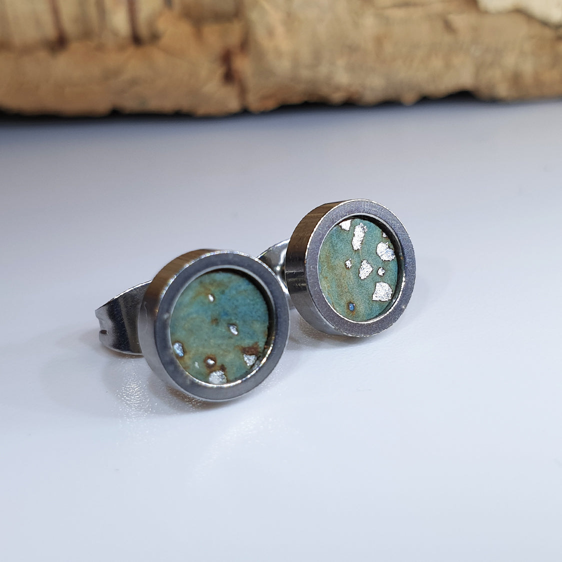 Fabrikk Cork Stud Earrings | Dwarf Size | Aqua Silver | Vegan Leather