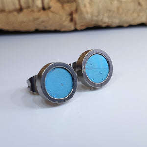 Fabrikk Cork Stud Earrings | Dwarf Size | Bahama Blue | Vegan Leather