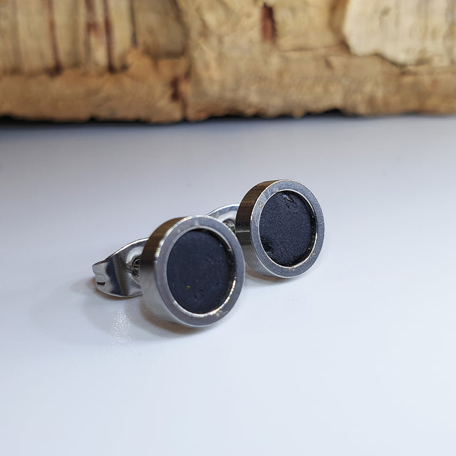 Fabrikk Cork Stud Earrings | Dwarf Size | Coal Black | Vegan Leather