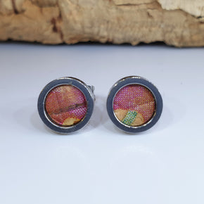 Fabrikk Cork Stud Earrings | Dwarf Size | Cosmic Splash - Pink 'n' Purple | Vegan Leather