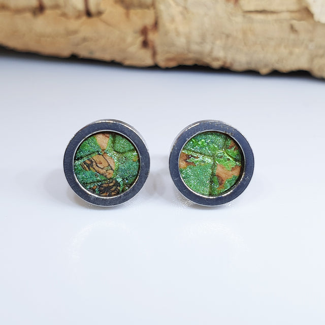 Fabrikk Cork Stud Earrings | Dwarf Size | Green Python Skin | Vegan Leather