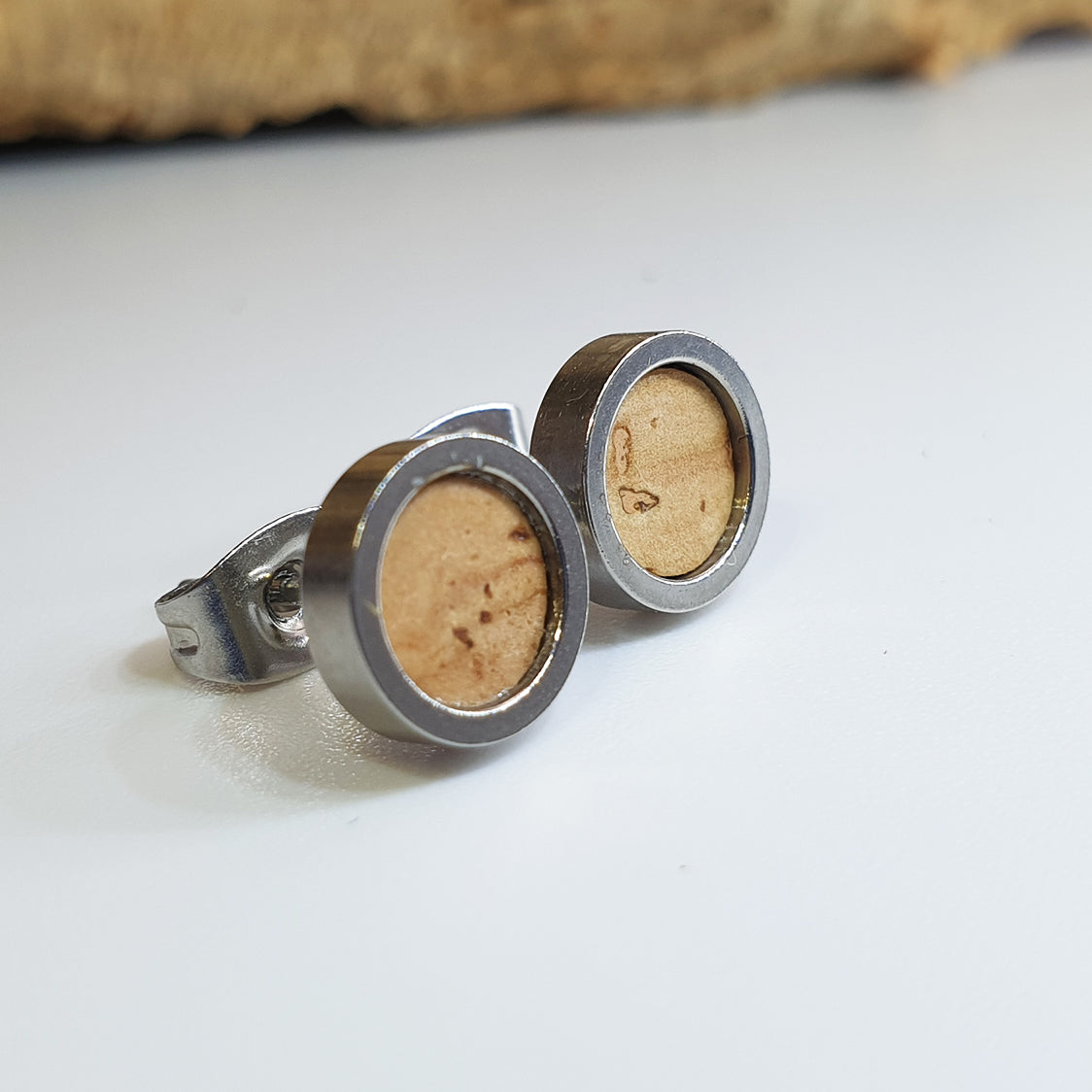 Fabrikk Cork Stud Earrings | Dwarf Size | Natural Bark | Vegan Leather