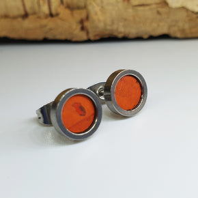 Fabrikk Cork Stud Earrings | Dwarf Size | Orange | Vegan Leather
