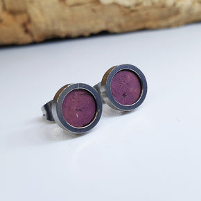Fabrikk Cork Stud Earrings | Dwarf Size | Purple Music | Vegan Leather