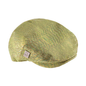 Fabrikk Cork Flat Cap | Green Python Faux Snake Skin | Vegan Leather