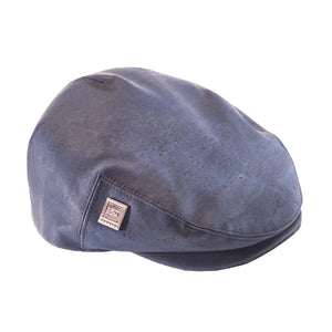 Navy Blue Cork Flat cap | Vegan leather Hat