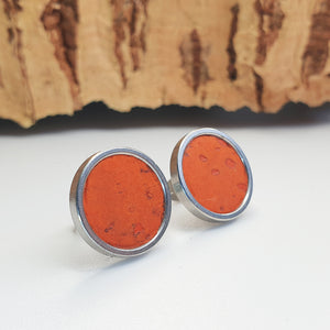 Fabrikk Cork Stud Earrings | Giant | Orange | Vegan Leather