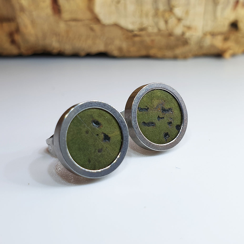 Fabrikk Cork Stud Earrings | Medium | Army Green | Vegan Leather