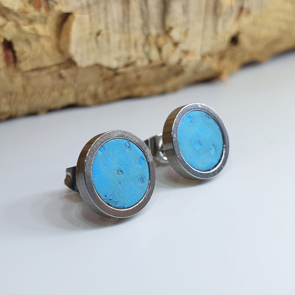 Fabrikk Cork Stud Earrings | Medium | Bahama Blue | Vegan Leather
