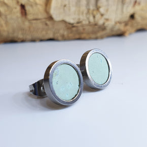 Fabrikk Cork Stud Earrings | Medium | Mint Green | Vegan Leather