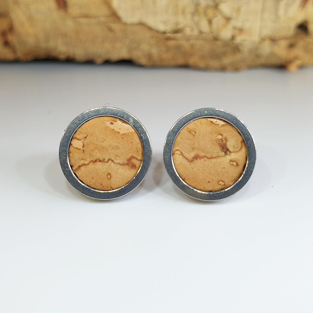 Fabrikk Cork Stud Earrings | Medium | Natural Bark | Vegan Leather