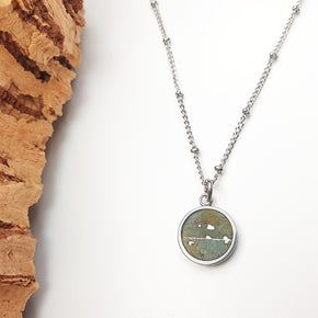 Fabrikk 1 Small Planet Necklace | Aqua Silver | Vegan 'Leather'