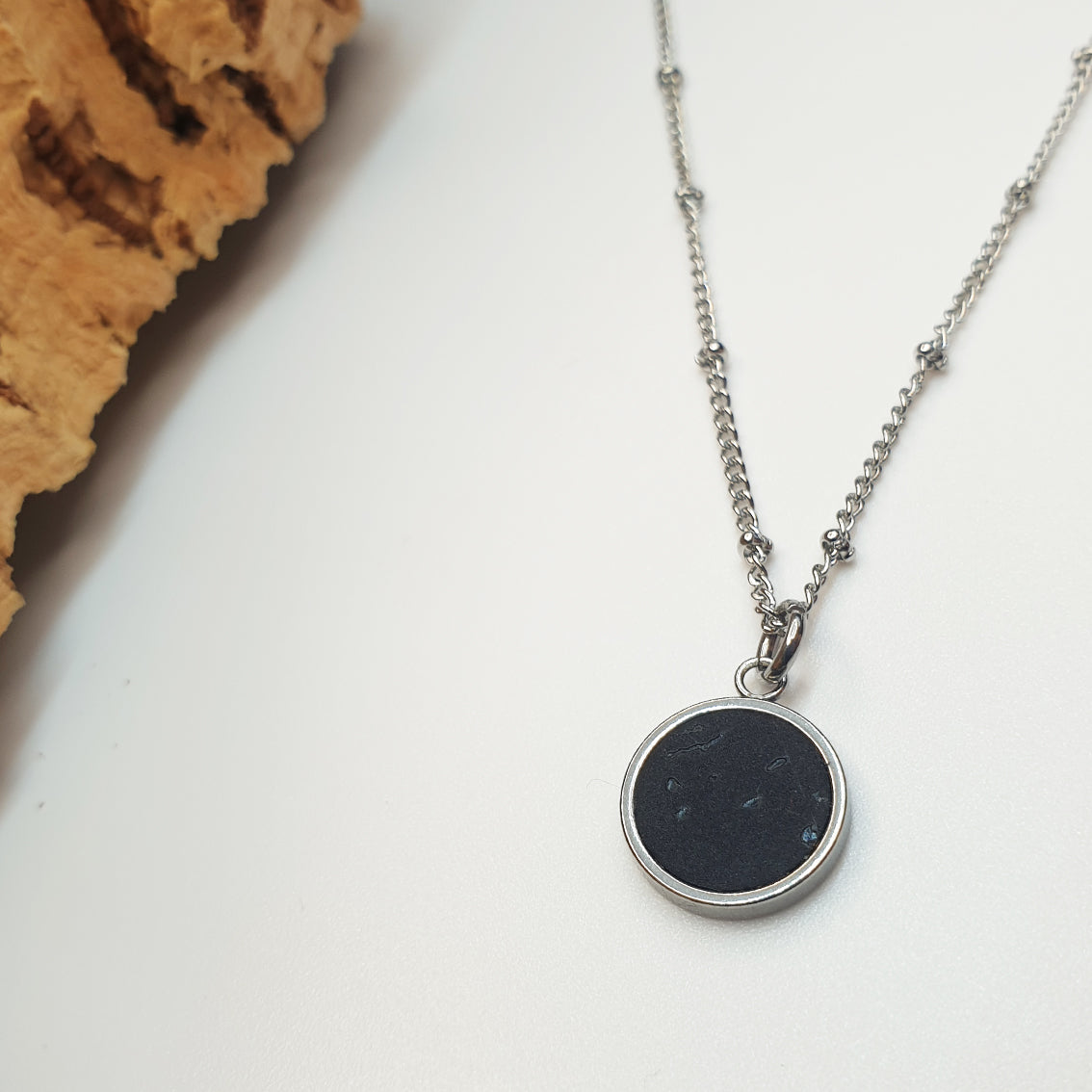 Fabrikk 1 Small Planet Necklace | Coal Black | Vegan 'Leather'
