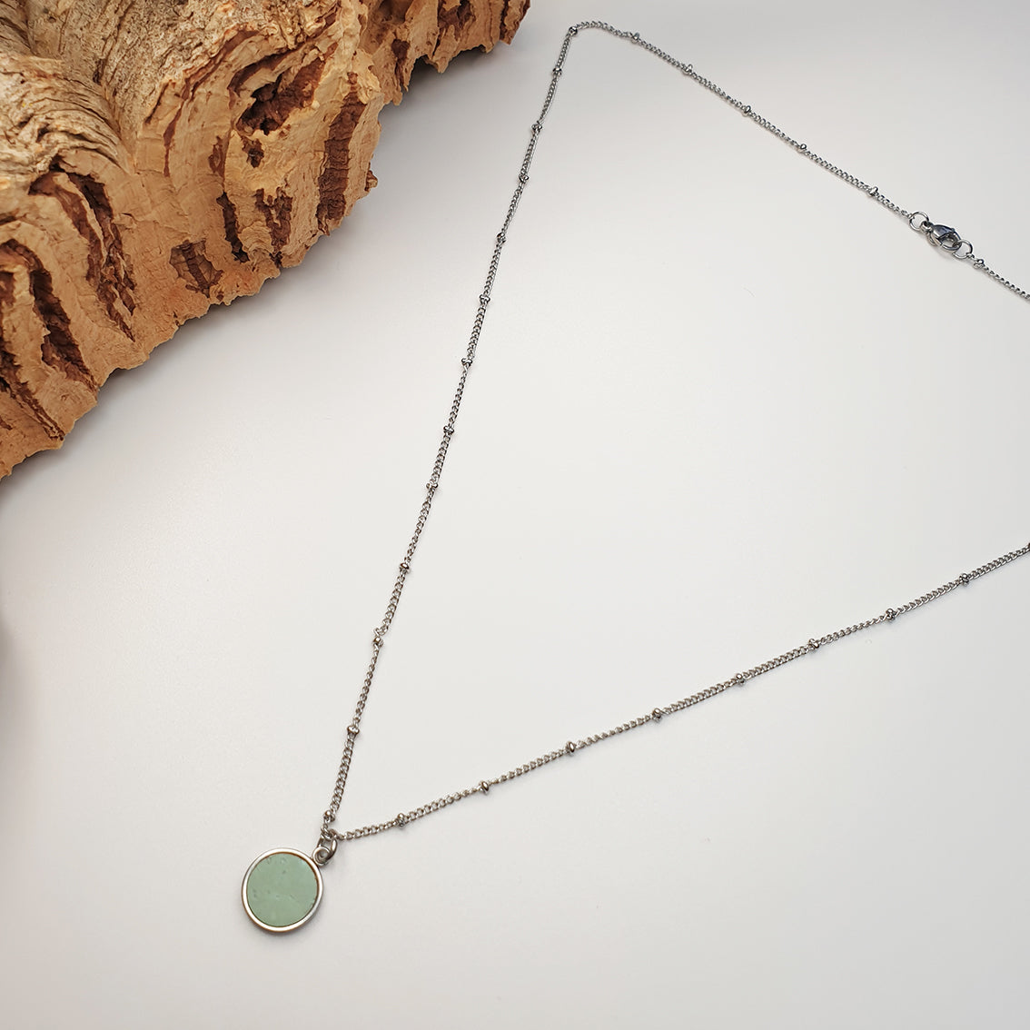 Fabrikk 1 Small Planet Necklace | Mint Green | Vegan 'Leather'