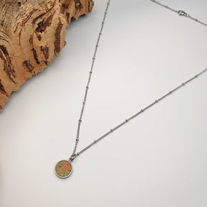 Fabrikk 1 Small Planet Necklace | Green Oil slick | Vegan 'Leather'