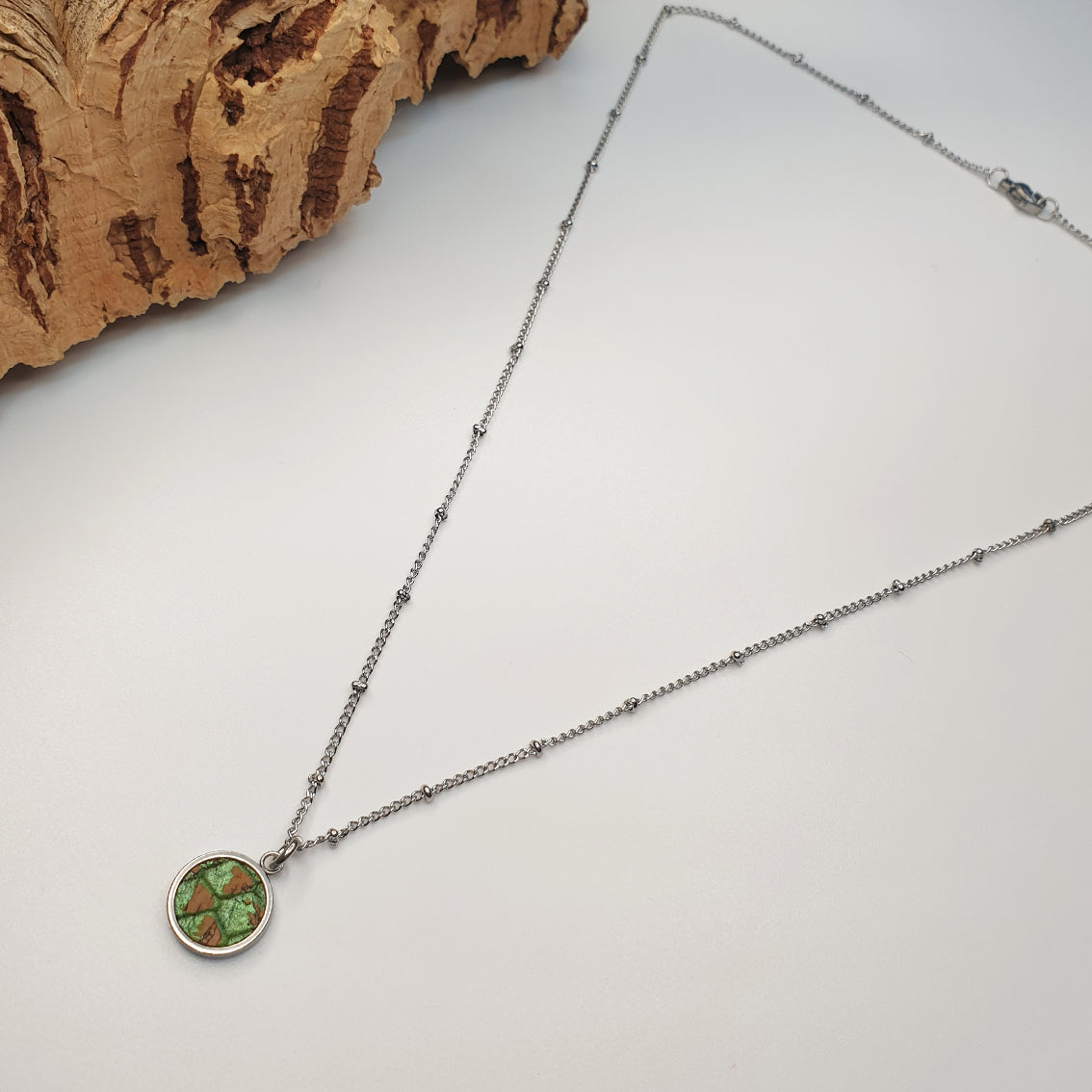 Fabrikk 1 Small Planet Necklace | Green Python Skin | Vegan 'Leather'