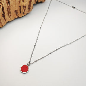 Fabrikk 1 Small Planet Necklace | Red | Vegan 'Leather'