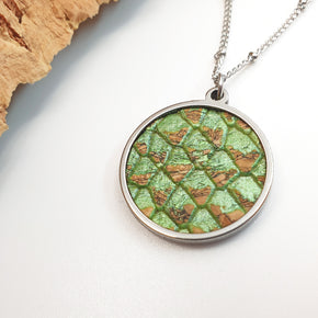 Fabrikk 1 Planet Necklace | Green Python Skin | Vegan 'Leather'