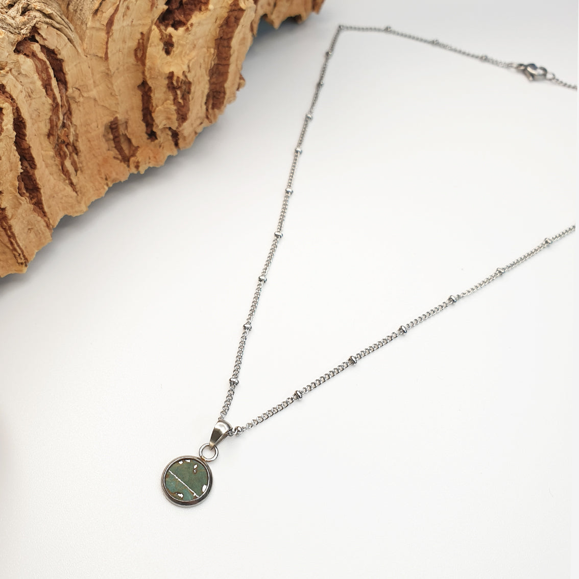 Fabrikk Dwarf Planet Necklace | Aqua Silver | Vegan 'Leather'