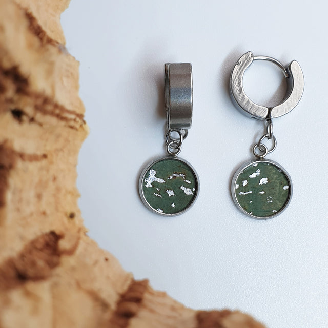 Fabrikk 1 Dwarf Planet Earrings | Aqua Silver | Vegan Leather