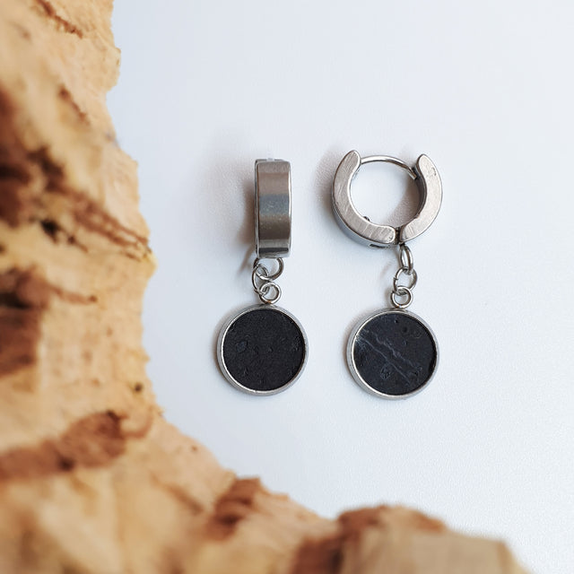 Fabrikk 1 Dwarf Planet Earrings | Coal Black | Vegan Leather