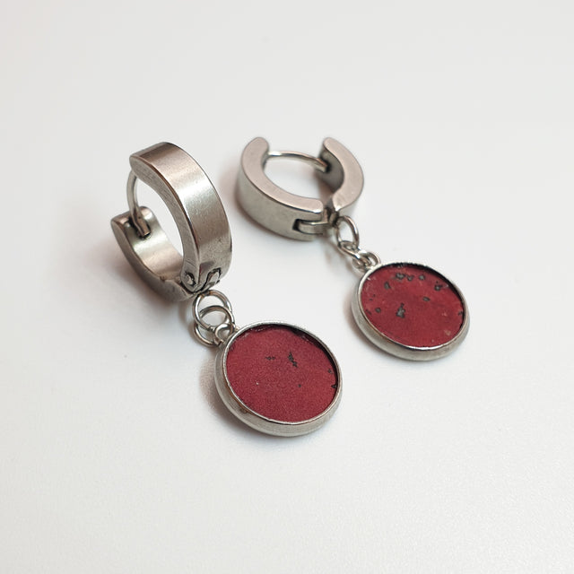 Fabrikk 1 Dwarf Planet Earrings | Burgundy Love Cork | Vegan Leather
