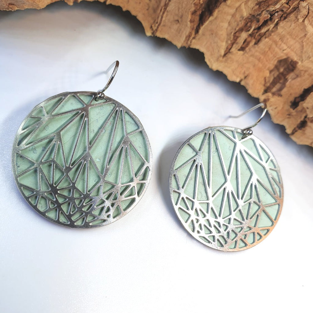 Fabrikk Stellar Laser Cut Earrings | Mint Green | Vegan Leather