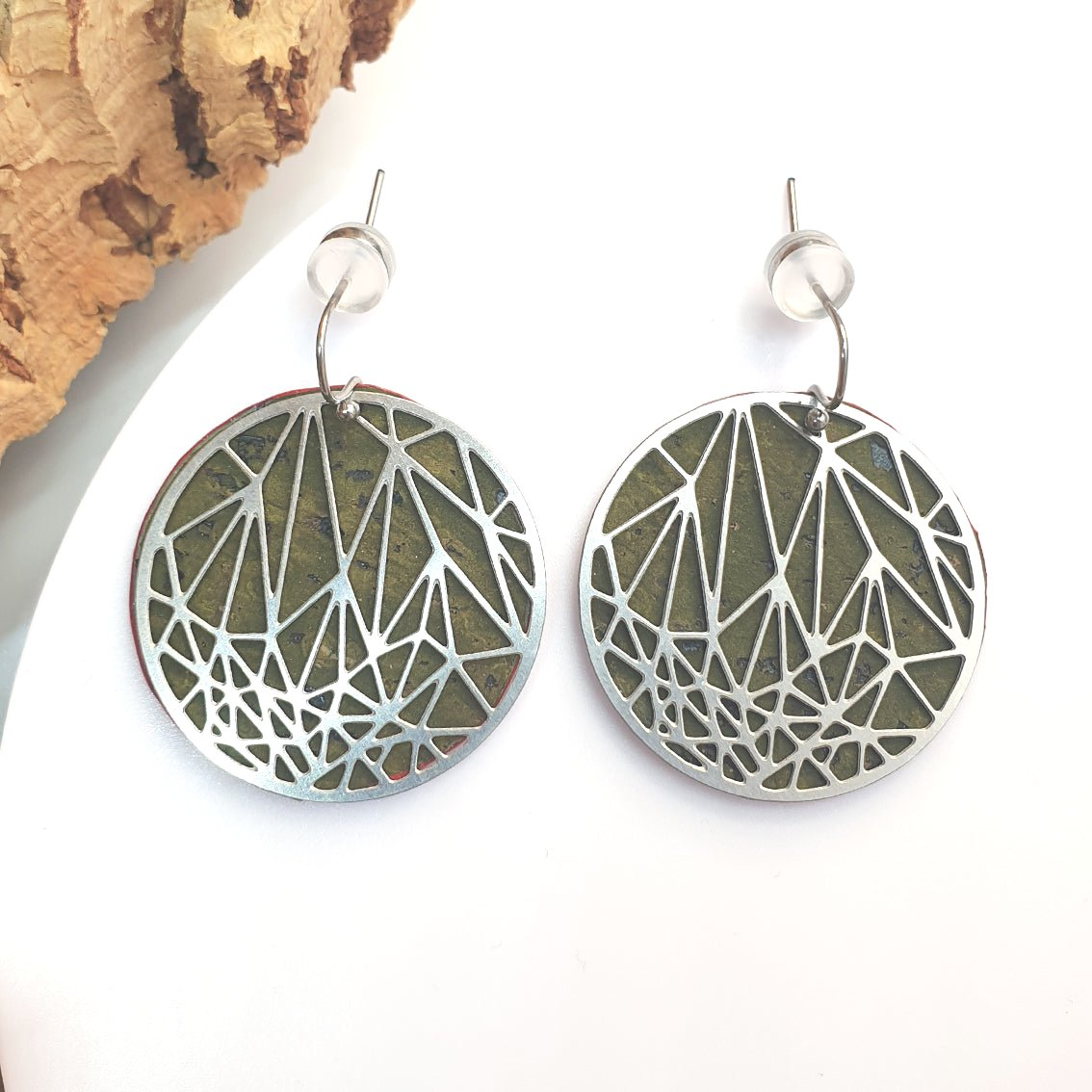 Fabrikk Stellar Laser Cut Earrings | Army Green | Vegan Leather