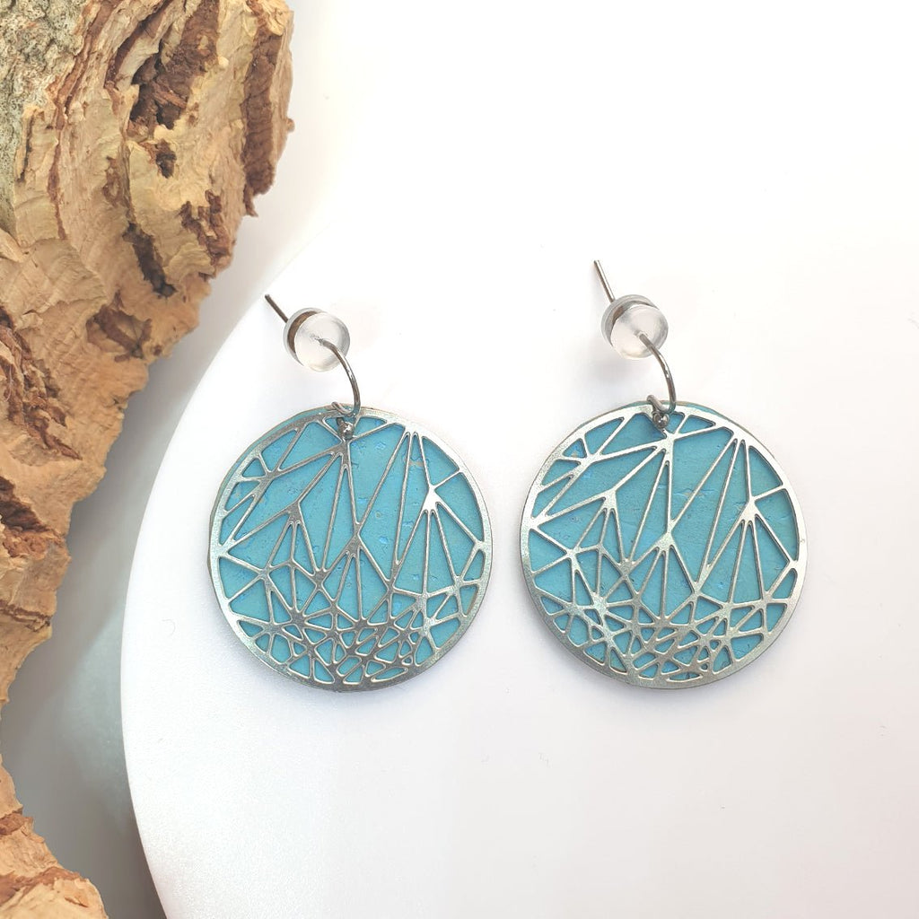 Fabrikk Stellar Laser Cut Earrings | Bahama Blue | Vegan Leather