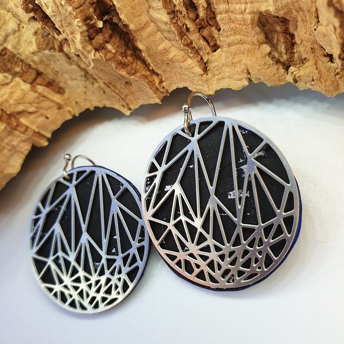 Fabrikk Stellar Laser Cut Earrings | Black Silver | Vegan Leather