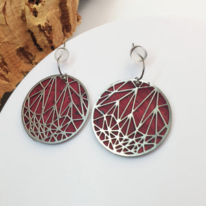 Fabrikk Stellar Laser Cut Earrings | Burgundy Love | Vegan Leather