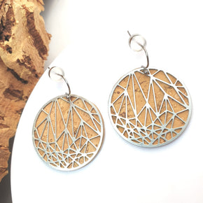 Fabrikk Stellar Laser Cut Earrings | Natural Bark | Vegan Leather