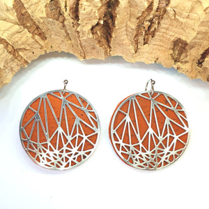 Fabrikk Stellar Laser Cut Earrings | Orange Cork | Vegan Leather