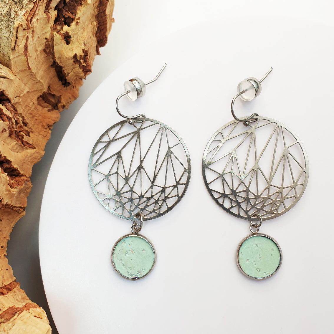 Fabrikk Stellar Planet Drop |  Laser Cut Earrings | Mint Green | Vegan Leather