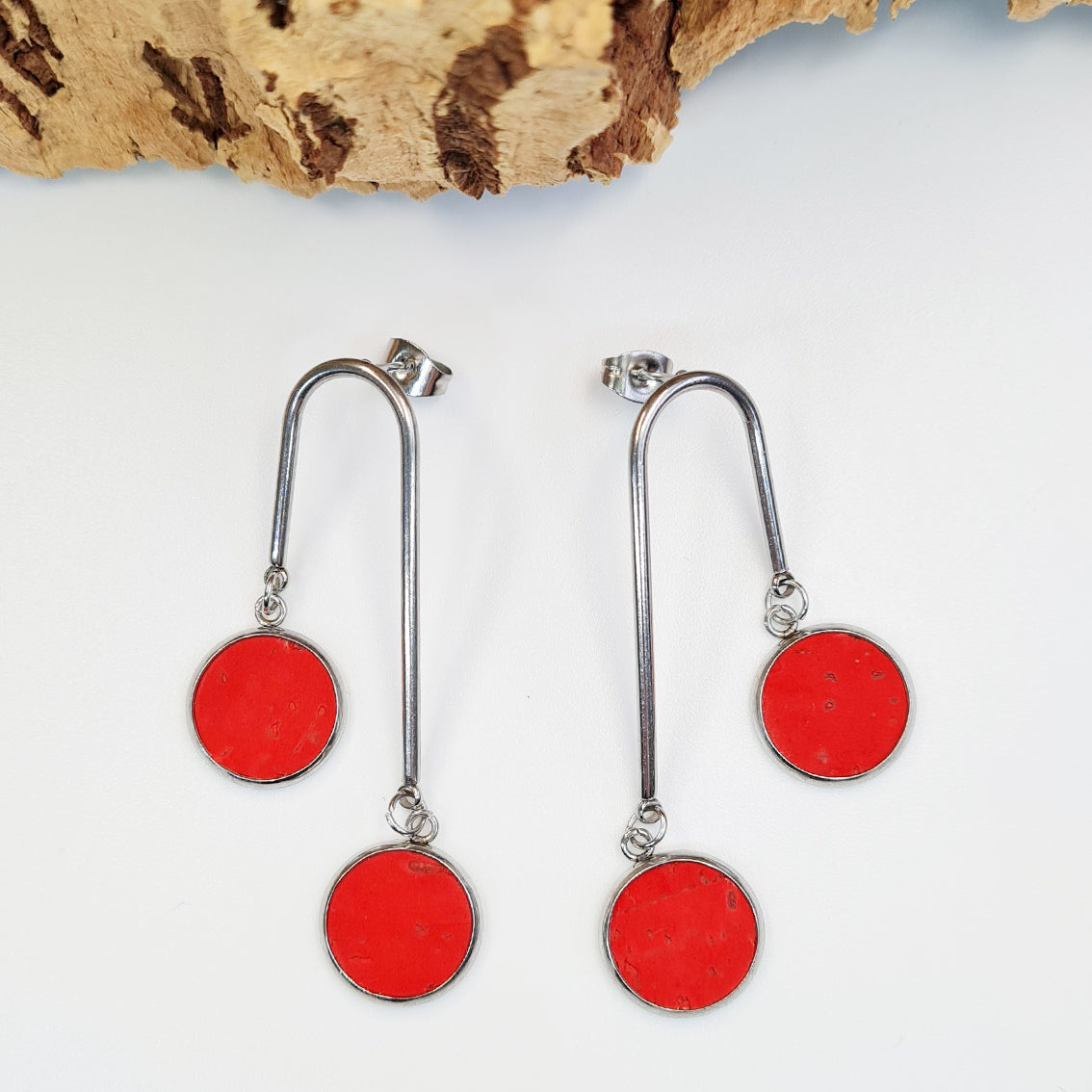 Fabrikk 2nd Planet Drop Earrings | Red | Eco Cork