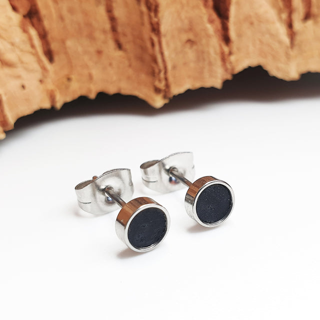 Fabrikk Cork Stud Earrings | Atom Size | Coal Black | Vegan Leather