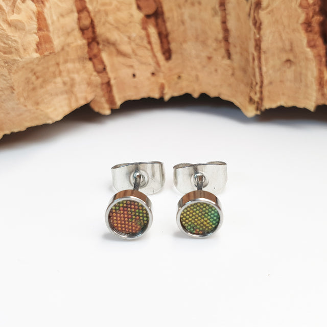 Fabrikk Cork Stud Earrings | Atom Size | Green Oilslick | Vegan Leather