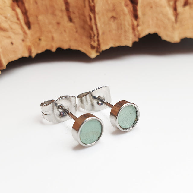 Fabrikk Cork Stud Earrings | Atom Size | Mint Green | Vegan Leather