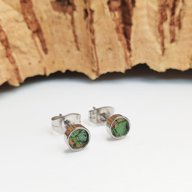 Fabrikk Cork Stud Earrings | Atom Size | Green Mock Python Skin | Vegan Leather