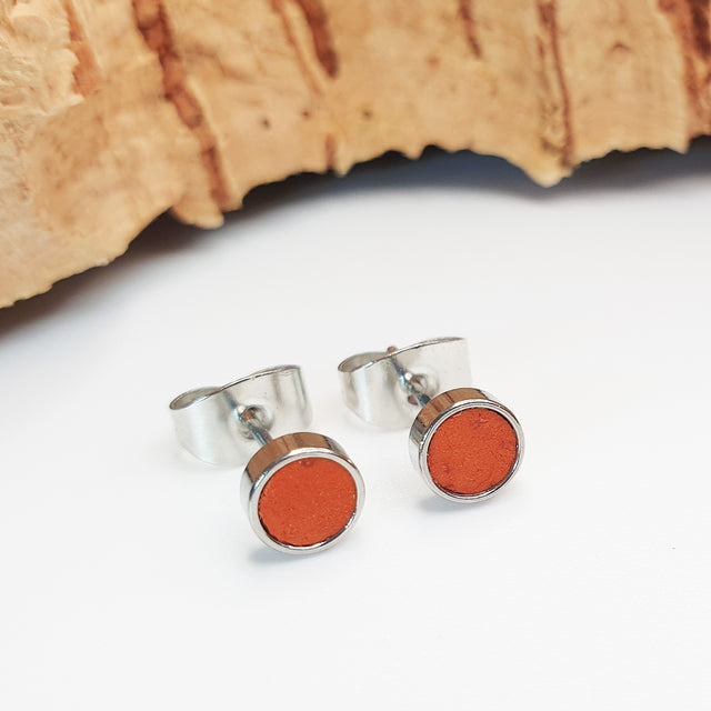 Fabrikk Cork Stud Earrings | Atom Size | Orange | Vegan Leather