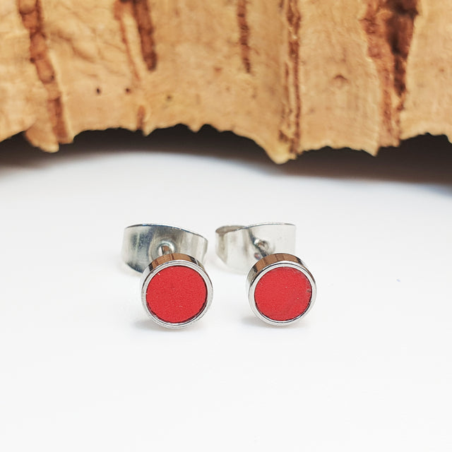 Fabrikk Cork Stud Earrings | Atom Size | Red | Vegan Leather